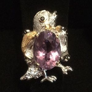 One Of A Kind Exquisite Genuine Amethyst Bird Ring